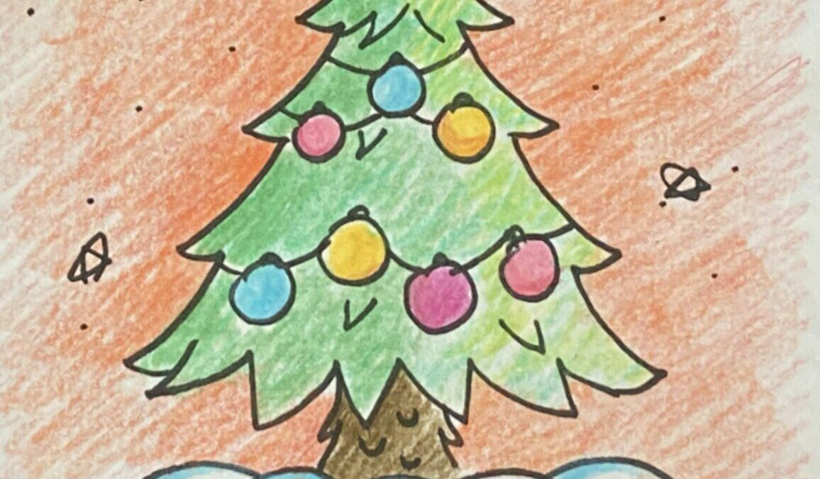 نقاشی با اشکال هندسی ساده؛ این قسمت: درخت کریسمس
