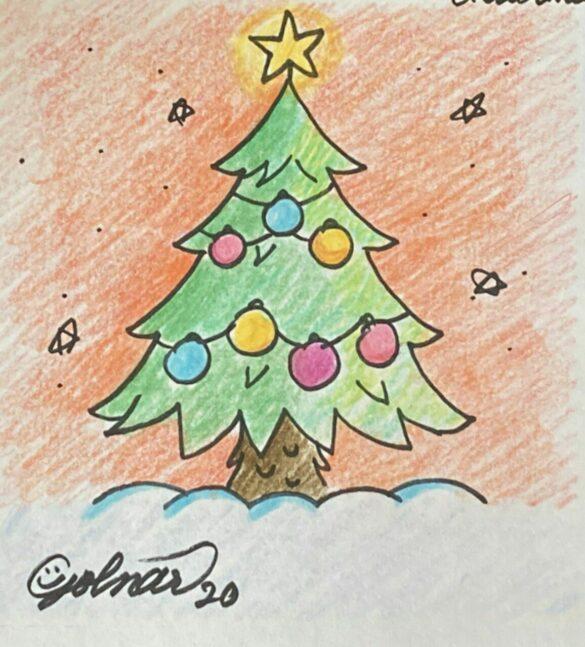 آموزش گام به گام نقاشی؛ درخت کریسمس