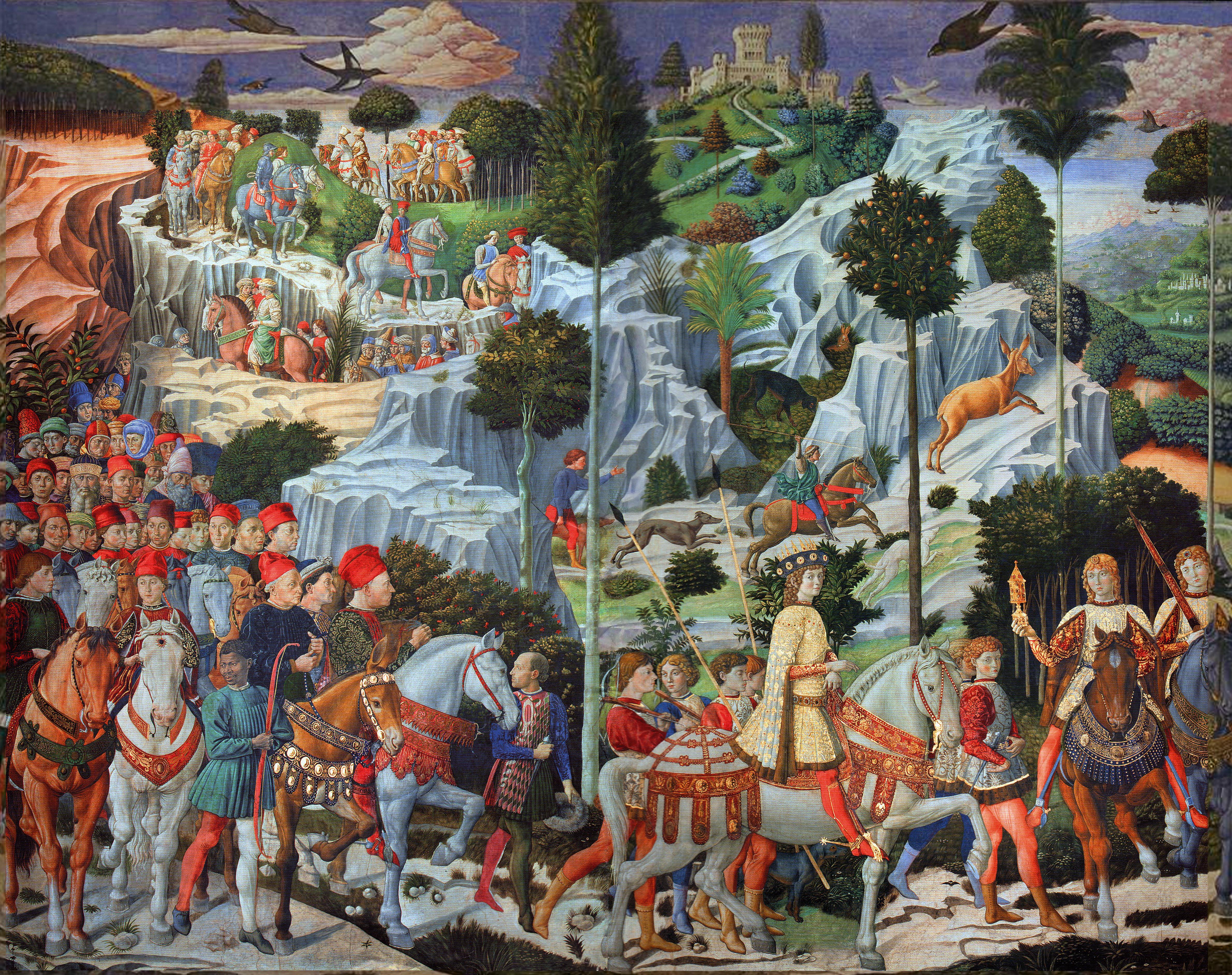 اثری از گوتزولی که به افتخار خاندان مدیچی کشیده شدهاست و بعضی از اعضای آن را نشان میدهد. ۱۴۵۹–۱۴۶۱، فلورانس، کاخ خاندان مدیچی.